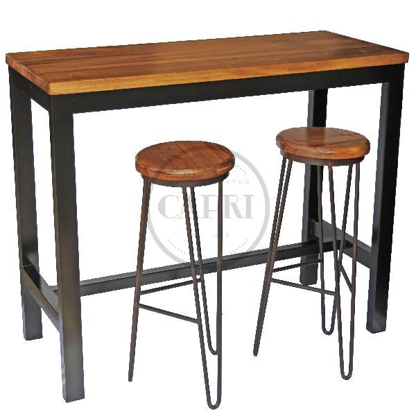 Mesa desayunador 2 bancos industrial muebles estilo for Mesas de estilo industrial