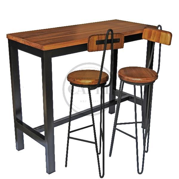 Mesa desayunador 2 bancos c respaldo industrial for Barra estilo industrial