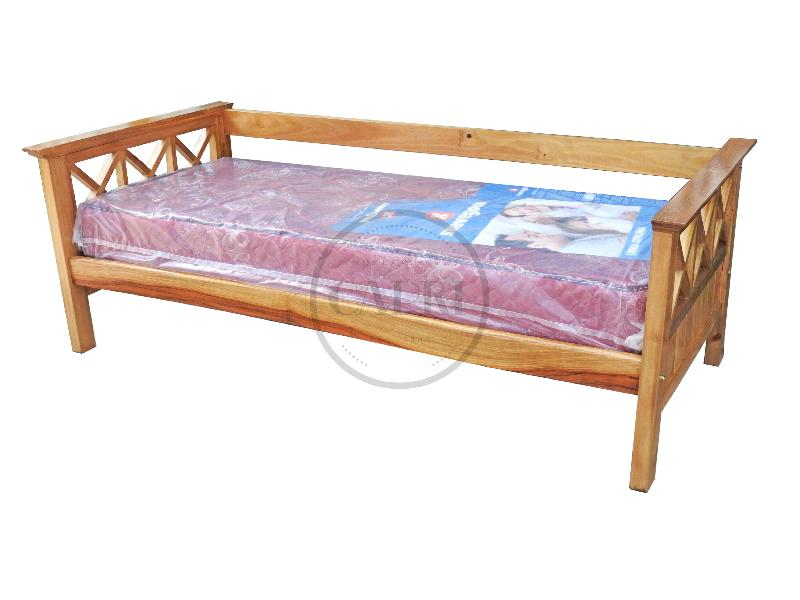 Sofa cama 1 plaza lustre chenille muebles estilo campo for Sofa cama de madera 1 plaza
