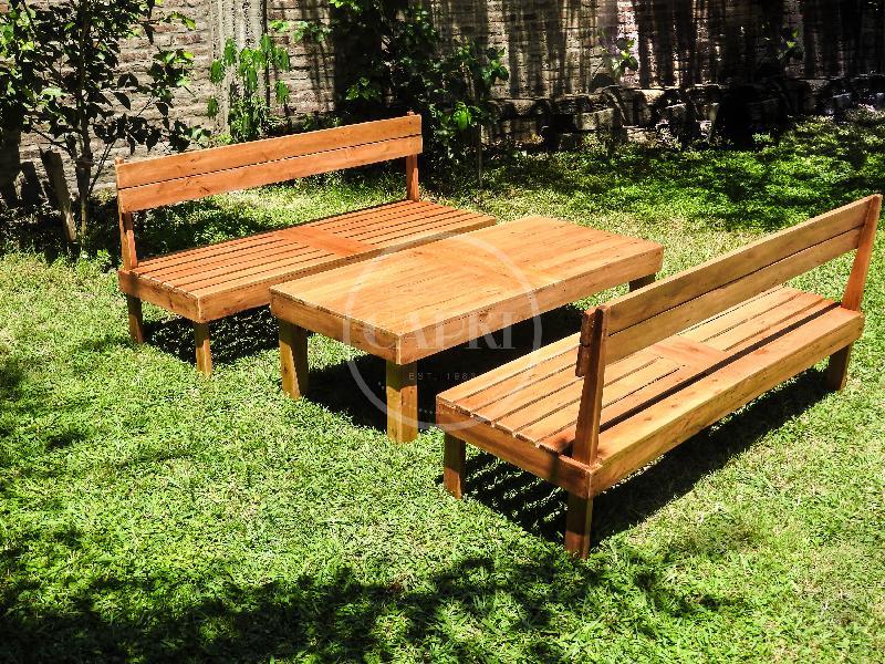 Juego de sillones deck muebles estilo campo for Sillones para jardin exterior