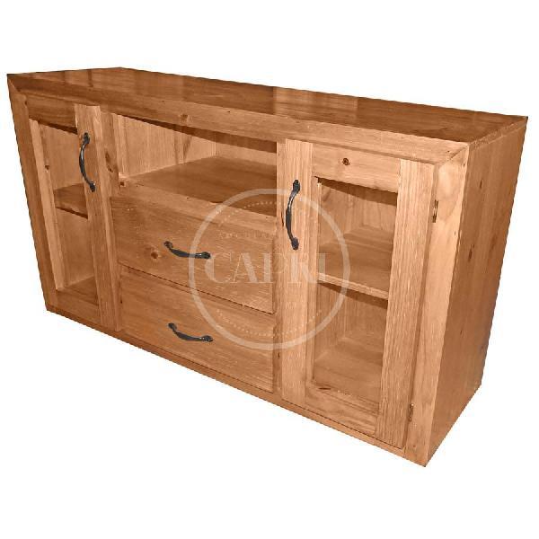 Mesa de tv asia con cajones y puertas cera muebles for Mesa para tv con cajones