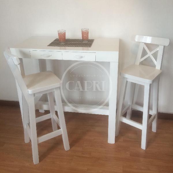 Mesa desayunador asia 120x40 laqueado blanco muebles for Mesa desayunador