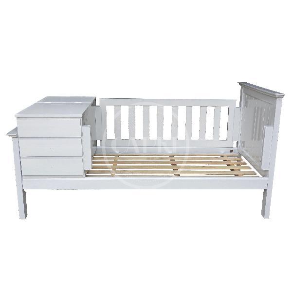 Cama funcional americana laqueado blanco muebles for Cama funcional
